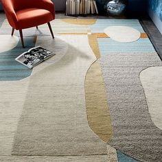 Christopher Wynter Abstract Circle Rug - Light Sage #westelm