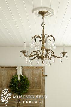 Miss Mustard Seed's ceiling,  chandelier & medallion