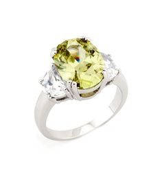 Citrine Oval CZ Gemstone Ring $26