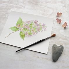 Hydrangeas are one of the most beautiful parts of an autumn garden. I made this print of a watercolor painting I did of a pretty hydrangea blossom from my backyard. I used a palette of soft pinks, mau