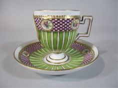 Love the purple and green together. 18th centruy Meissen cup & saucer.
