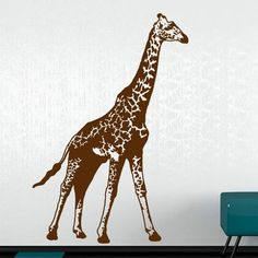 "Style and Apply Giraffe Wall Decal Size: 59"" H x 41"" W, Color: Dark Gray"