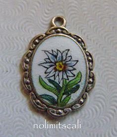 Vtg 800 EUROPEAN Silver & Enamel EDELWEISS ~ GERMAN Alpine FLOWER Bracelet Charm   eBay