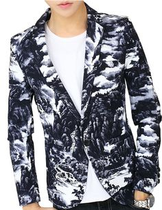 Clouds Artistic Navy Blue White Fashion Blazer