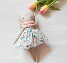 Cassie linen bunny doll, Children's day for girl, fabric doll,flowery girl nursery decor,handmade doll, dress doll,rag doll,textile doll