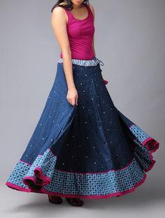 Buy vy Blue Fushia Serp Mukaish Kalidar Cotton Skirt (Free Size) Pure Online at Jaypore.com