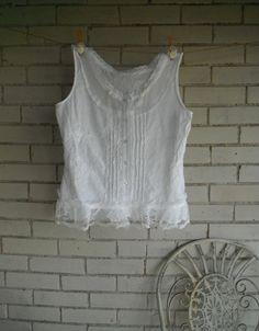 cotton blouse bohemian top sleeveless top button by ShabbyRoad