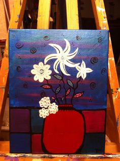 Flowers painted in metallic acrylic on canvas