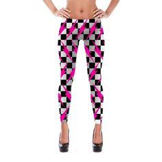 Lightning Leggings - Checkered Bolt Leggings - Bolt Leggings - Yoga Leggings - Lightning Costume
