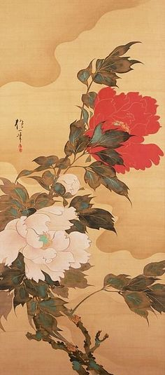 "by Hōitsu Sakai    ""Peonies in the Wind""    Early 19th century, Japan:"