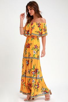 You'll be the best-dressed at your resort in the Lulus Cancun Cutie Yellow Floral Print Off-the-Shoulder Maxi Dress! OTS floral dress with a seamed maxi skirt. Yellow Maxi Dress, Floral Print Maxi Dress, Ruffle Dress, Pink Dress, Midi Wrap Skirt, Backless Maxi Dresses, Nice Dresses, Floral Prints, Cancun
