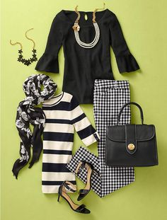 black & white spring work outfit ideas from Talbots Fashion Over 50, Look Fashion, Fashion Outfits, Fashion Flatlay, Fall Fashion, Preppy Style, My Style, Casual Mode, Gingham Pants