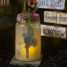 Are you as in love with fairy gardens as we are? We're enchanted by all things fairy here at Plaid! No matter if you're new to the fairy fun or if you've already been living the glow life, we've got a fun and easy fairy garden project to share with you. Fairy Glow Jars, Fairy Lights In A Jar, Jar Lights, Mason Jar Crafts, Mason Jars, Garden Ideas To Make, Fairy Lanterns, Crafts For Kids, Diy Crafts