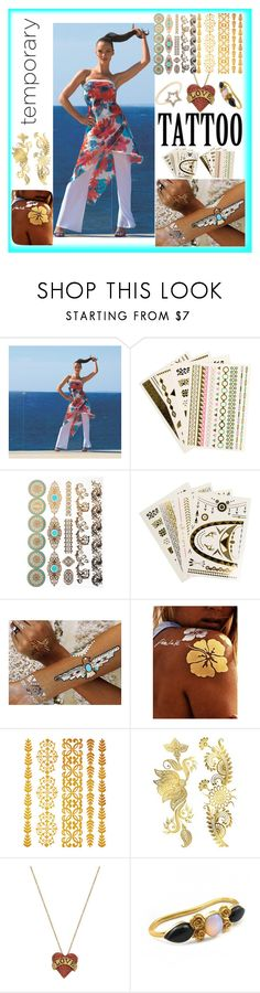 """Temp Tattoos"" by westcoastcharmed ❤ liked on Polyvore featuring beauty, Joseph Ribkoff, Printed Village, Flash Tattoos, LeiVanKash, J.Crew and temporarytattoo"
