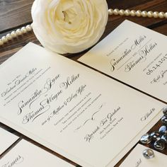 This beautiful set begins with traditionally typeset text and pours on the elegance with premium papers, thermography printing and a rhinestone embellishment.