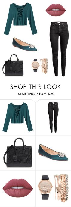 """""""Sem título #737"""" by vitoriastyles0908 ❤ liked on Polyvore featuring H&M, Yves Saint Laurent, Badgley Mischka, Lime Crime and Jessica Carlyle"""
