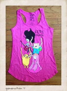 Officially licensed Vintage Inspired Adventure Time Let's Party Womens Tank Top in pink featuring image of the Adventure Time Characters. By Mighty Fine