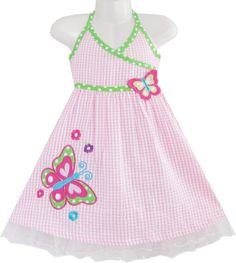 Girls Dress Pink Tartan Butterfly Embroidered Tank Size 12M-5 Years
