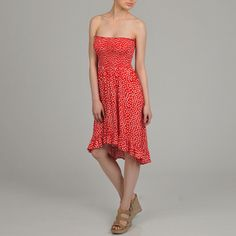 THis one! AnnaLee and Hope Women's Polka-dot Smocked Strapless Dress | Overstock.com