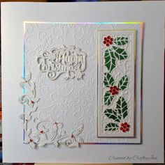Christmas card made with mainly Sue Wilson Creative Expression dies and a Die-sire sentiment die.