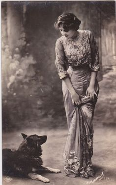 Edwardian woman and her dog