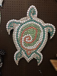 Unique and beautiful mosaic turtle wall décor.