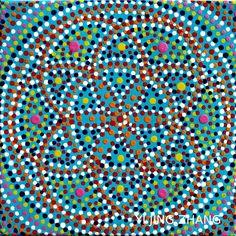 HANDGEMALTES MANDALA BILD DOT ART ACRYL AUF LEINWAND GEMÄLDE MALEREI ESOTERIK FENG SHUI MEDITATION YOGA HAND PAINTED