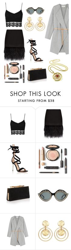 """Conjunto preto com casaco cinza"" by fashionfabulosa ❤ liked on Polyvore featuring Topshop, Polo Ralph Lauren, Gianvito Rossi, Jimmy Choo, Gucci, Vanessa Bruno and Kenneth Jay Lane"