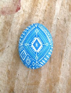Painted Stone Blue And White Tribal Boho Pattern, Beach Art, Boho Home Decor, Blue, White, Tourquoise