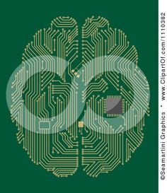 Clipart Circuit Board Computer Brain With A Memory Chip On Green - Royalty Free Vector Illustration by Seamartini Graphics