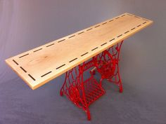 Buy a Hand Crafted Modern Console Table/Red Vintage Singer Sewing Machine Base - Hall Entry Table, made to order from Studio1212 | CustomMade.com