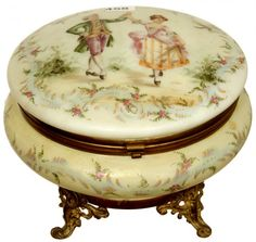 "5 1/4"" X 6 1/2"" ART GLASS ROUND HINGED DRESSER BOX : Yellow Opaque with White Interior, Classical Courting Scene on Lid with Floral Highlights"