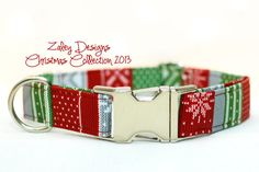 Christmas Dog Collar  Red White Green Silver by ZaleyDesigns, $28.00