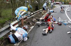 These athletes will get right back on their bikes and keep racing.  They don't lay on the ground like drama queens. *cough* soccer players *cough*