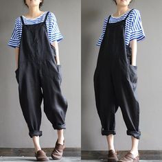 Linen overalls overalls feet Harlan stylish black by qinbailiang Look Fashion, Korean Fashion, Womens Fashion, Look 80s, Mode Outfits, Stylish Outfits, Mode Inspiration, Diy Clothes, Ideias Fashion