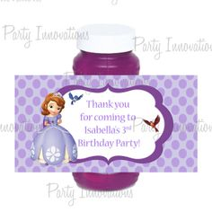 Printable Sofia The First Bubble Bottle Labels on Etsy, $5.00