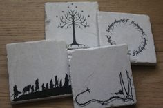 Set of 4 Tumbled Marble Tile Coasters - Lord of the Rings