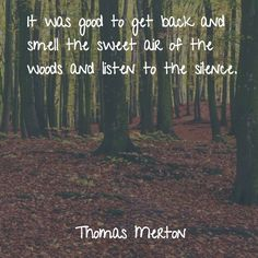 """""""It was good to get back and smell the sweet air of the woods and listen to the silence."""" - Thomas Merton"""