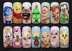 Disney Acrylic Nails, Best Acrylic Nails, Nail Art Designs Videos, Nail Art Videos, Cute Acrylic Nail Designs, Diy Nail Designs, Nail Art Dessin, Fiberglass Nails, Red Christmas Nails