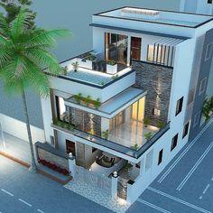 Best Modern House Design, Modern Exterior House Designs, Modern House Facades, Dream House Exterior, Exterior Design, 3 Storey House Design, Bungalow House Design, House Front Design, House Layout Plans