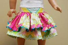 Twirly Doll Skirt tutorial for American Girl Doll