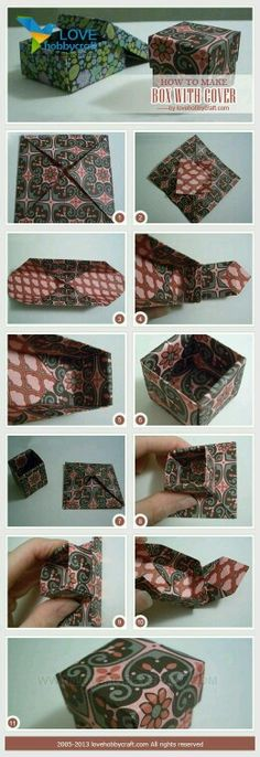 de origami how to make box with cover how to make box with cover Box Origami, Origami And Kirigami, Origami Paper Art, Diy Paper, Paper Crafts, Oragami, Fun Crafts, Diy And Crafts, Arts And Crafts