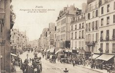 La rue Saint-Antoine vue depuis la place de la Bastille, vers 1900.