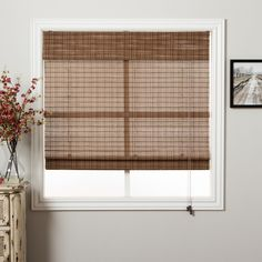 Arlo Blinds Tibetan Bamboo 74-inch Long Roman Shade (65 in. x 74 in.), Brown, Size 65 x 74