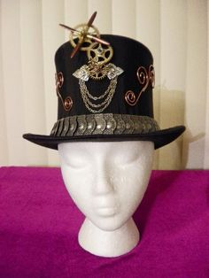 Steampunk Top Hat Authentic 20s Silk Gentlemans Neo Victorian OOAK Airship  Fleet Captains 150. Cynthia Tracey · steampunk hats men a2afdde5c160