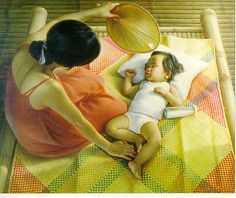 Mag-ina sa Banig (Mother and Child on a mat) by Nestor Leynes Filipino Art, Filipino Culture, Philippine Art, Filipiniana, My Heritage, Mothers Love, Mother And Child, Figurative Art, More Fun