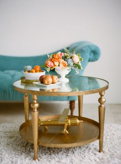 Gold Coffee Table With Glass Top | photography by http://www.lauraivanova.com/ | floral design by http://www.munsterrose.com/ | styling by http://snowwhiteeffect.com/