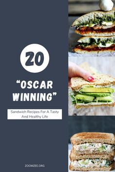 "20 ""Oscar Winning"" sandwich recipes for a tasty and healthy life. Grilled Pesto Chicken, Healthy Life, Healthy Eating, Deli Food, Healthy Sandwiches, Late Night Snacks, Sandwich Recipes, Appetizers, Food And Drink"