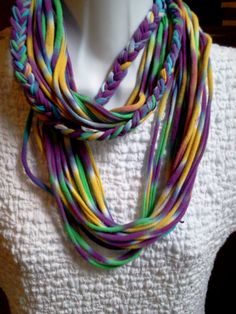 Tie Dyed Recycled T Shirt Necklace by LonestarFashions on Etsy, $15.00