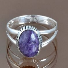 EXOTIC 925 STERLING SILVER EXCLUSIVE CHAROITE RING 3.52g DJR9155 SZ-9 #Handmade #Ring